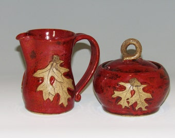Red  Cream and Sugar Set with Oak Leaves and Acorns