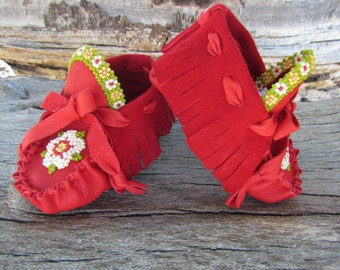 "Baby Moccasins By Desi, ""Flower Garden"", Beaded, Red Deerskin Leather, 3 3/4"" long, 3-6 Months, Soft Soled Shoes, Girl, Christmas Outfit"