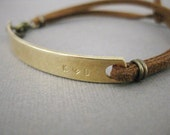 Brass Bar Custom Stamped initials womens bracelet with Vegan leather, Personalized,initals with heart,gold bar bangle, womens bracelet, love