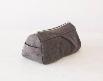 Makeup bag grey cotton, cosmetic storage case accessory bag in cotton canvas - Estia Bag