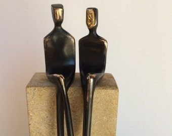 GAY WEDDING  >> Rugged bronze sculpture of two men makes a memorable gift for your gay lover and groom !