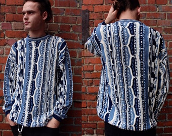 Vintage Mens Blue Retro Print Sweater