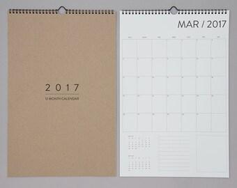 12 Month Wall Calendar 2017