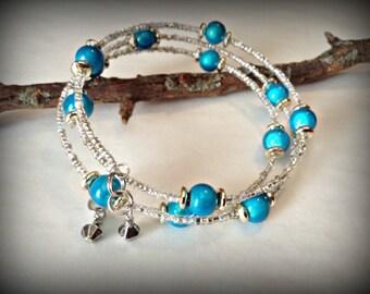 Beautiful Blue Beaded Memory Wire Bracelet