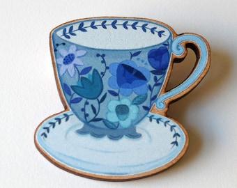Teacup Pin / Blue Flowers Teacup Pin / Teacup Brooch / Teacup Badge / Blue Cup