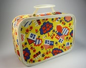 Vintage Doll Clothes Suitcase, Small,  Blue, Yellow and Red, Carrying Case,Travel Bag, Luggage, Overnight Bag
