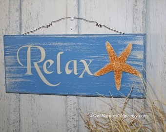 Relax Sign, Tropical Sign, Starfish Decor, Beach Sign, Beach Decor, Coastal Wall Decor, Nautical Decor,Tropical Decor, Beach House Decor