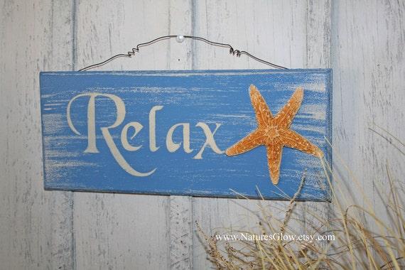 Relax Sign Tropical Sign Starfish Decor Beach Sign Beach