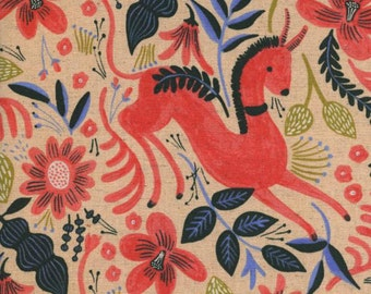 Cotton + Steel - Rifle Paper Co. - Les Fleurs - CANVAS Folk Horse in Coral
