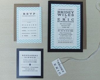 Burlap Chevron Wedding Invitation