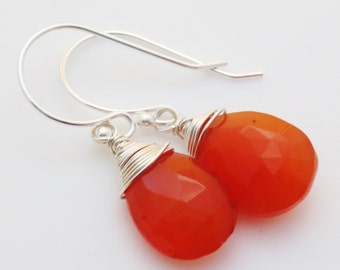 Carnelian Gemstone Sterling Earrings EE Designs