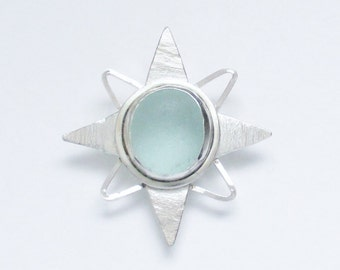 Sea Glass Jewelry - Sterling Light Blue Sea Glass Star Pendant
