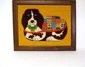 Vintage Embroidered Beagle wearing Patchwork Jacket, Completed Custom Framed Needlework, Textile Art, Cute Dog Crewel Work