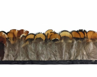 USA Feather Fringe, 1 Yard - NATURAL GOLD Venery Pheasant Plumage Feather Trim : 3668