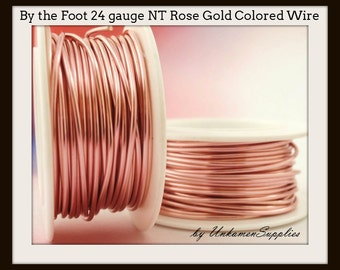 By the Foot 24 gauge Non Tarnish Rose Gold Colored Wire - 100% Guarantee