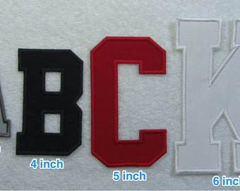 5 Inch College/Varsity Letter/Monogram Fabric Embroidered Iron On Patch MADE TO ORDER