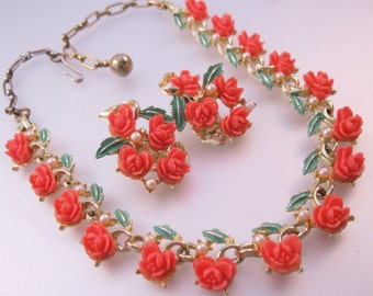 1950s Coral Rose Enamel & Faux Pearl Necklace Earrings Set Vintage Costume Jewelry Jewellery FREE SHIPPING