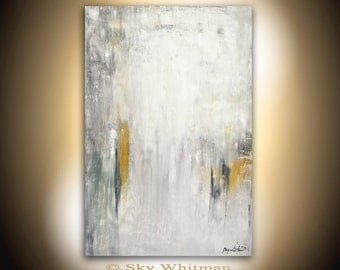Abstract Large Painting 24 x 36 Original Modern Contemporary Art Gray White Acrylic Painting Wall Art Decor by Sky Whitman