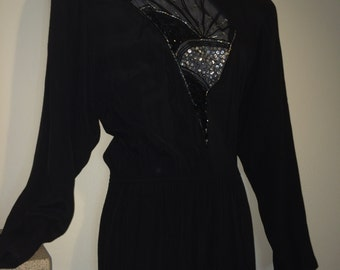 Vintage 1980s Deco Inspired Disco black and silver Sequins Carol Anderson jumpsuit size x small