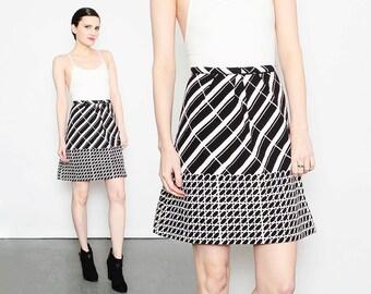 60s B&W Striped Skirt Op Art Graphic Cotton High Waist 1960s Mod Pleated Mini Skirt Black White M L 32