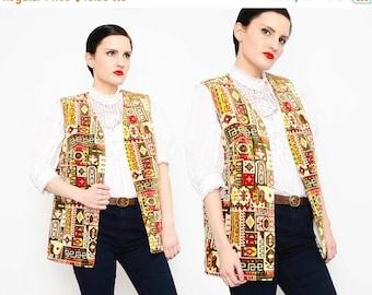 60s 70s Carpet Tapestry Vest Ethnic Mosaic Boho Hippie Long Vest 1970s Tunic Jacket S M