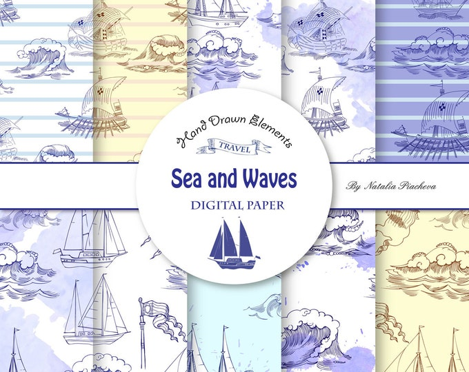 Sea and Waves. Nautical, see, wave, sketch, ocean, water, summer, marine, hand drawn, travel, ship, yacht, nautical, clipart