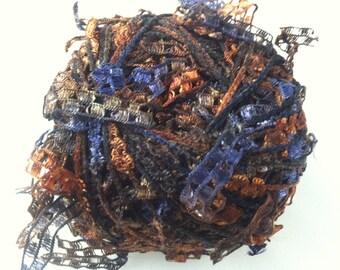 Trendsetter Cubetti #1018 Desert Sunset - Ribbon Yarn Flags Carryalong in Dark Blue, Browns, Copper and Black 25 grams 75 yards