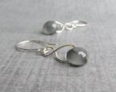 Storm Gray Earrings, Grey Dangle Earrings, Gray Lampwork Earrings, Infinity Wire Earrings, Lightweight Dangles, Sterling Silver Earrings