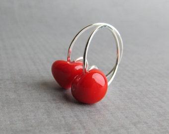 Poppy Red Earrings, Small Red Hoop Earrings, Small Wire Hoops, Sterling Silver Wire Earrings, Bright Red Earrings, Red Lampwork Earrings