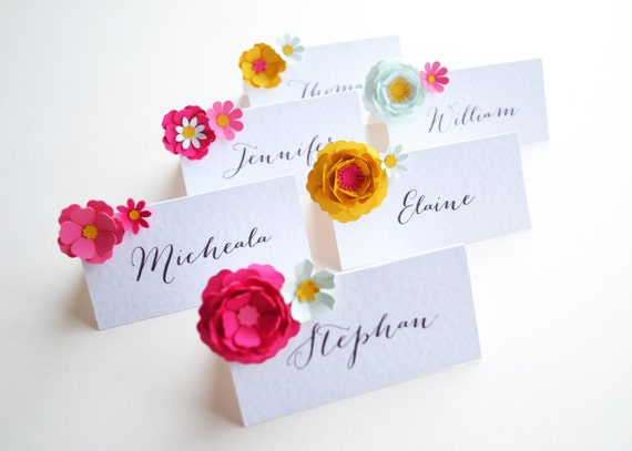 Set Of Six Handmade Paper Flower Placecards