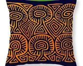 Kuna Indian Mushroom Demon Printed PolyPoplin Tote Bag - Cotton Printed Throw Pillow - Tribal Decor - Recyclable Bag - Laptop Bag - Book Bag