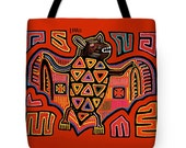 San Blas Kuna Indian Printed PolyPoplin Tote Bag Bat Design - Kuna Bat Design Throw Pillow - Tribal Decorative Throw Pillow - Folk Art Tote