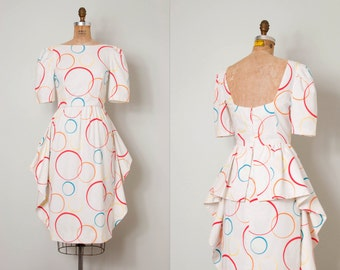 vintage 1980s dress / colorful circle print 80s dress / Going in Circles