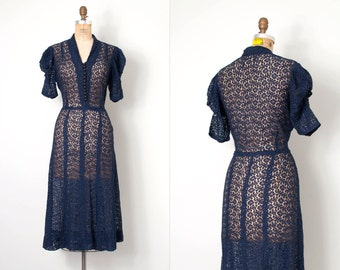 vintage 1930s dress / navy blue 30s lacedress / Minding The Manor