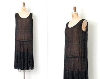 vintage 1920s dress / 20s black beaded dress / Zelda