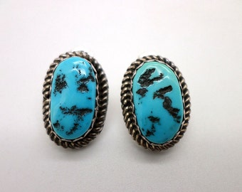 Turquoise and Sterling Earrings Vintage Native American Style Beautiful Natural Stones with Black Matrix Rope Detail
