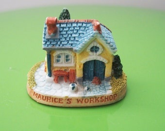 Workshop Miniature Yellow House With Blue Roof From Great Britain