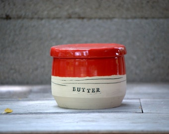 French butter crock, ceramic butter keeper, lidded butter dish in red