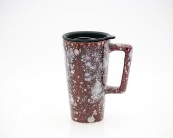Travel Mug with Lid, coffe mug, everyone gift, for her, for him, christmas gift, raspberry ice ,READY TO SHIP