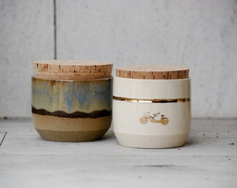 Two ceramic spice jars, pottery canister with cork lid, salt pig