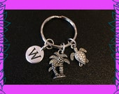 Personalised gift personalized gift for her personalised initial charm keychain palm tree charm turtle charm keychain