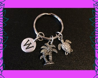 Personalised gift, personalized gift for her, personalised initial charm keychain, palm tree charm, turtle charm keychain