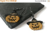Valentines sale Halloween Earrings Witch Pumpkin Jack O lantern Bead weaved Orange Black Gold
