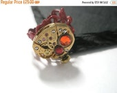 Valentines sale Jewelry Steampunk Ring Vintage Watch Ring clockwork Siam Red Hyacnith Orange  Swarovski crystal Red Filigree Gothic Victoria