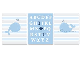 Little Blue Whale Nautical Nursery I love You abc Baby Room Prints / Set of 3 / Whale Baby Gifts