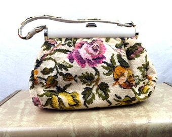 Vintage 1960s JR Floral Tapestry Handbag Purse