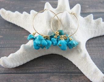 14K gold filled hoop earrings with dyed magnasite, turquoise color stone hoop earrings, blue earrings, wedding, bridesmaid
