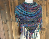 Crochet Oversized Fringe Scarf / BABINE / Featured in the colour Ocean