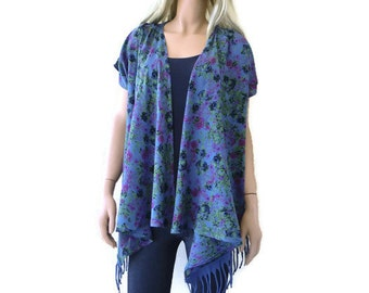 Denim blue floral cotton summer cardigan with fringes  -Layering piece-Many colors