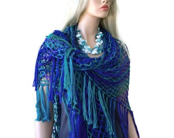 Mermaid scarf/shawl-Colors of Azores-Oversize Fishnet scarf in shades of Emerald green  sea blue and and purples-Only one